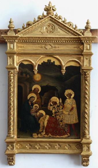 10. Obraz Pokłon Trzech Króli ze złoconą ramą architektoniczną, XIX w., wyk. Eugenio