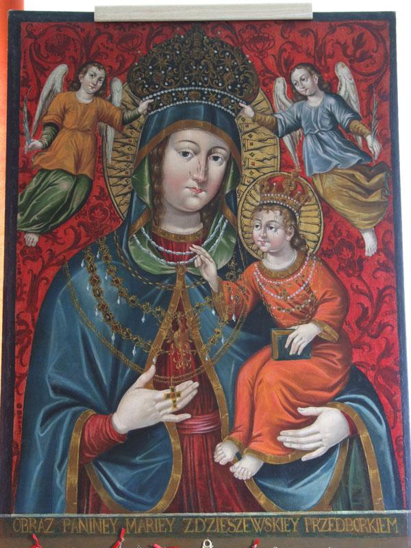 13. Obraz Matka Boska z Dzieciątkiem, ok. poł. XVII w., z ołtarza głównego