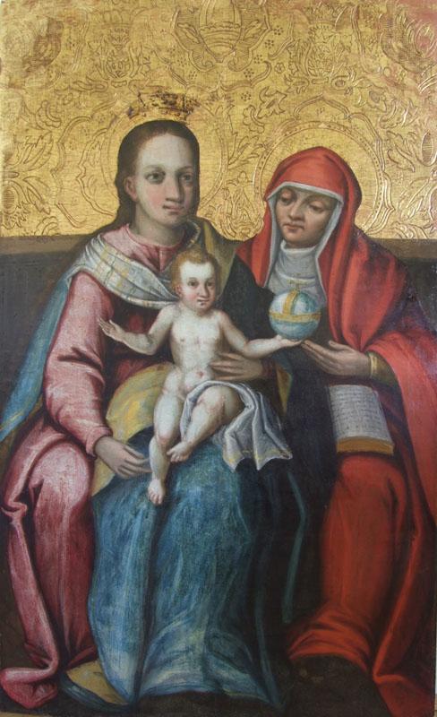 19. Obraz tablicowy św. Anna Samotrzeć, XVI/XVII w., ołtarz boczny