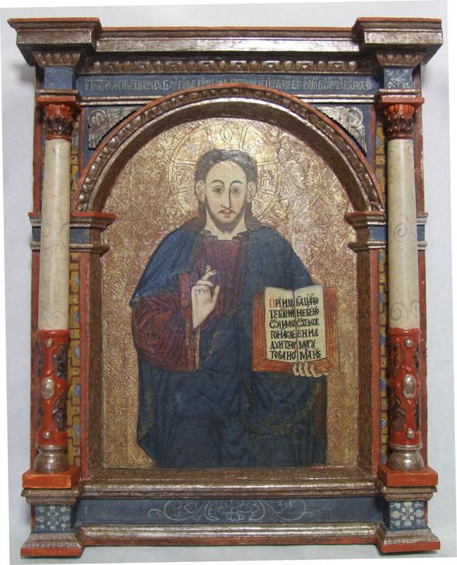20. Ikona Chrystus Pantokrator z ramą architektoniczną z rzędu ikon namiestnych ikonostasu, XVII w.
