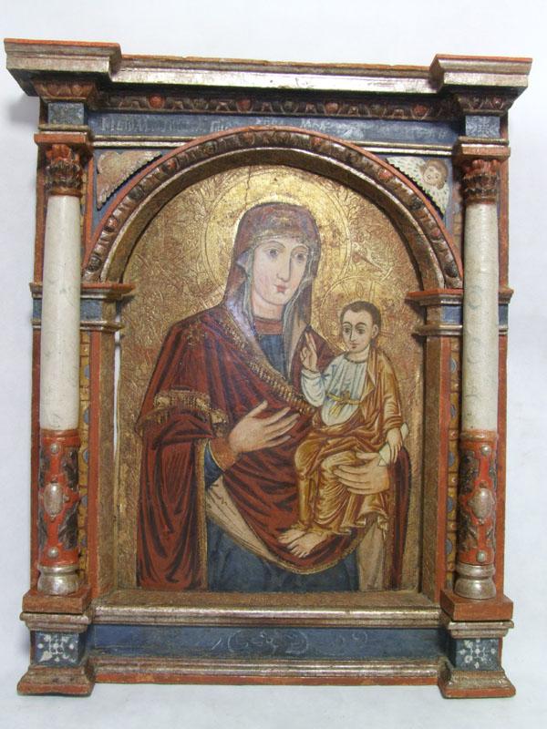 Obraz na drewnie Matka Boska Hodigitria wraz z ramą architektoniczną z rzędu ikon namiestnych ikonostasu, XVII w.