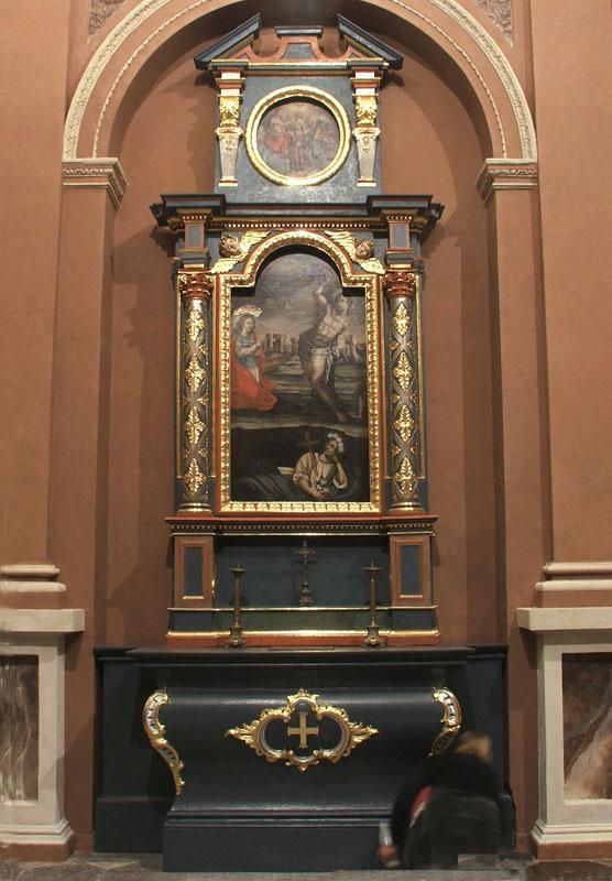 33. Manierystyczny ołtarz boczny p.w. św. Rozalii, z obrazem olejnym na płótnie z kaplicy Tęczyńskich, I poł. XVII w.